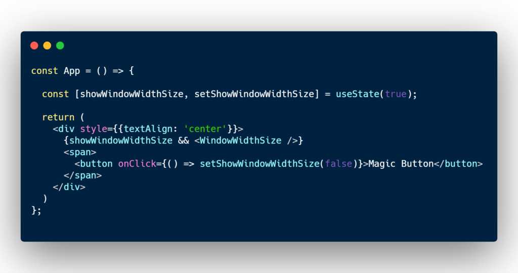 Show window width in React functional component