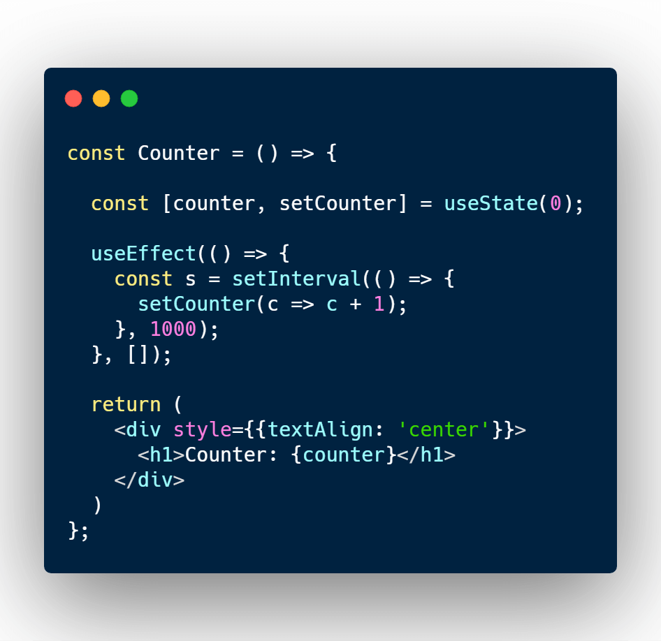Increment counter every second in React useEffect