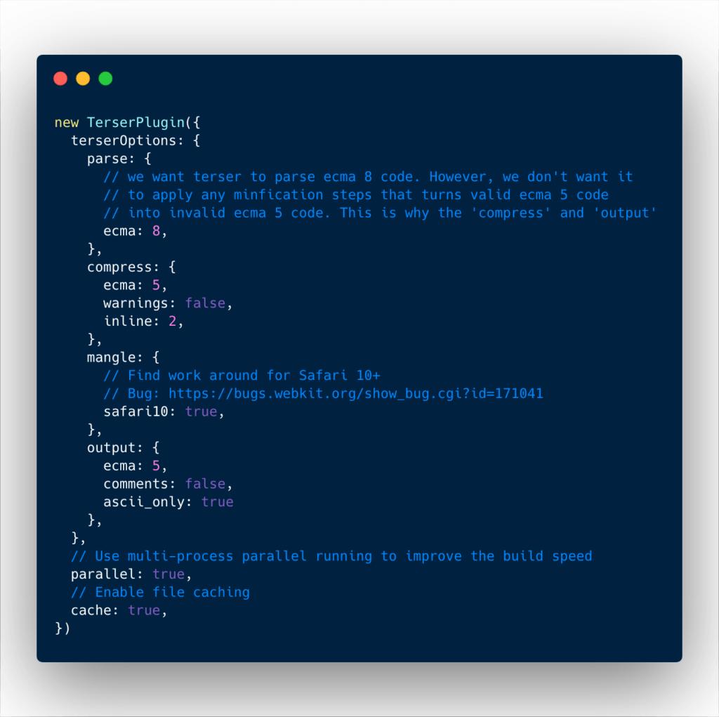 Terser webpack plugin basic configuration
