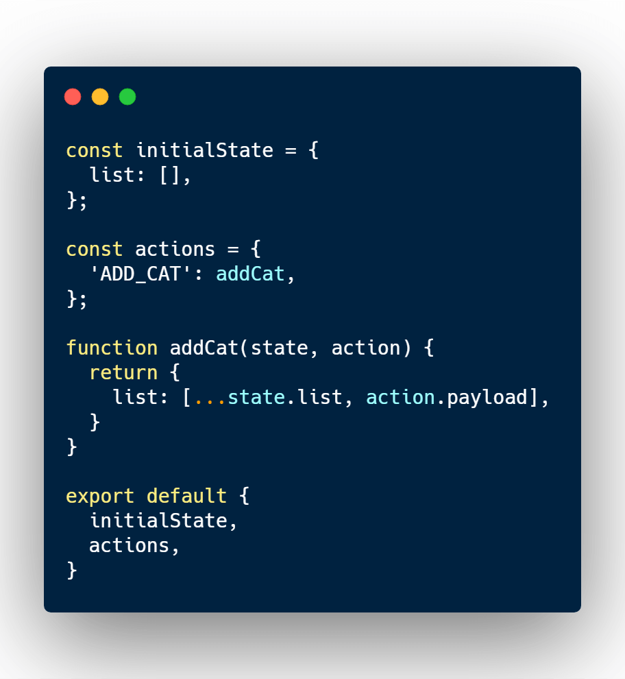 Redux store reducer example