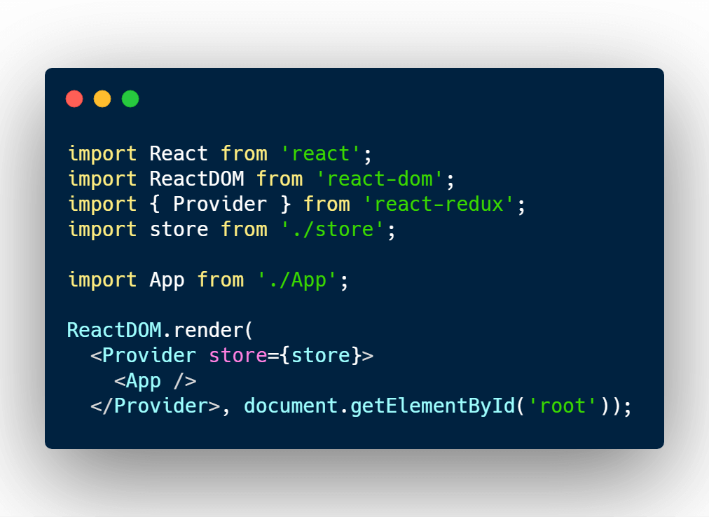 Adding redux store provider component to React
