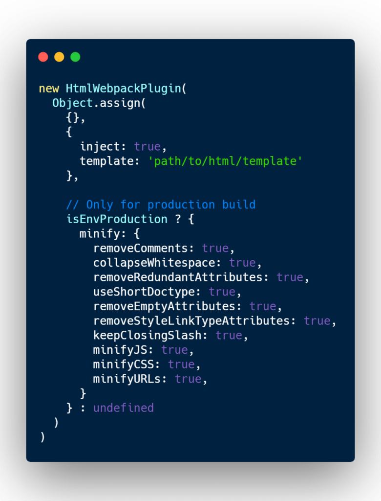 Mnify HTML webpack plugin only for production
