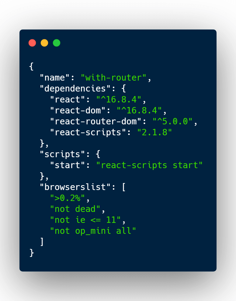 React router package json file