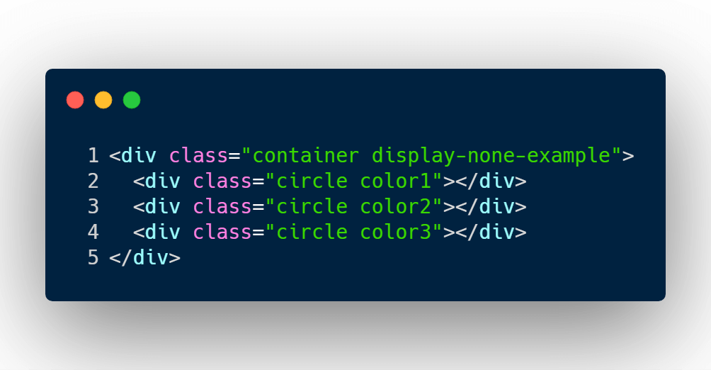 Display none HTML example with 3 circles