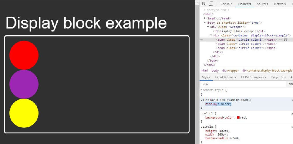 Display block output example