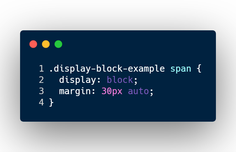 Giving span element display block and margin spacing