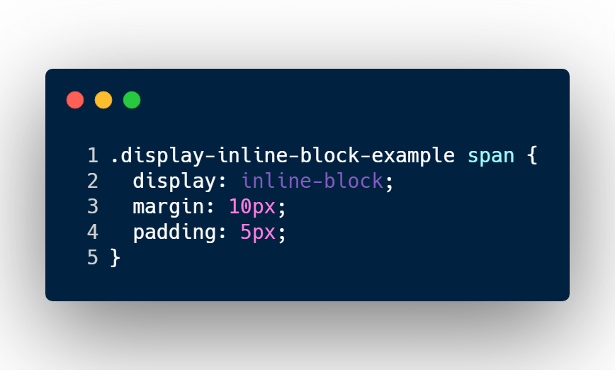 Converting span element to inline-block type. Giving margin and padding.