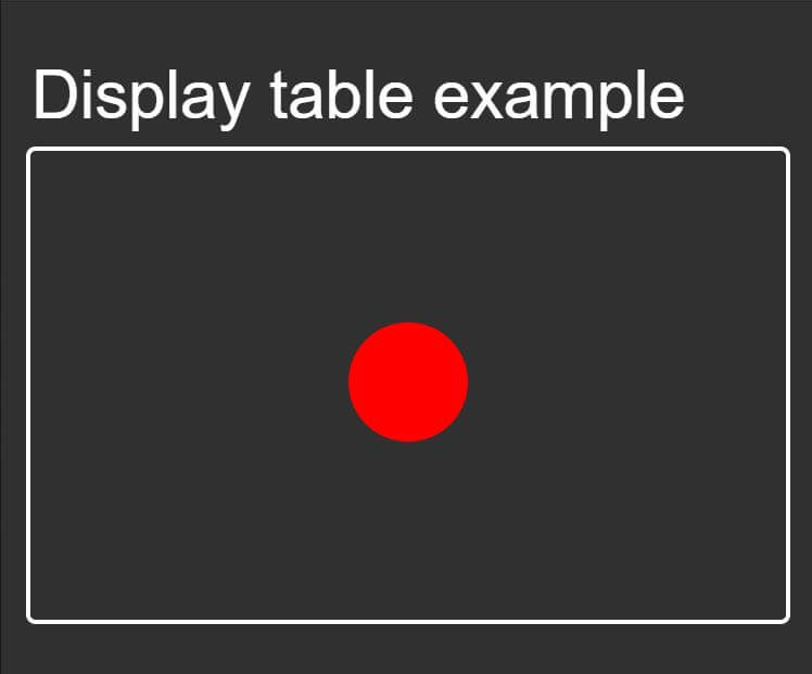 Display table layout move element in the middle of the box