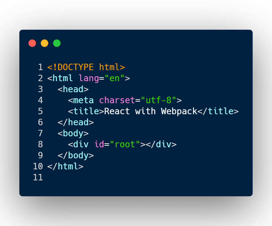 HTML file for React project.