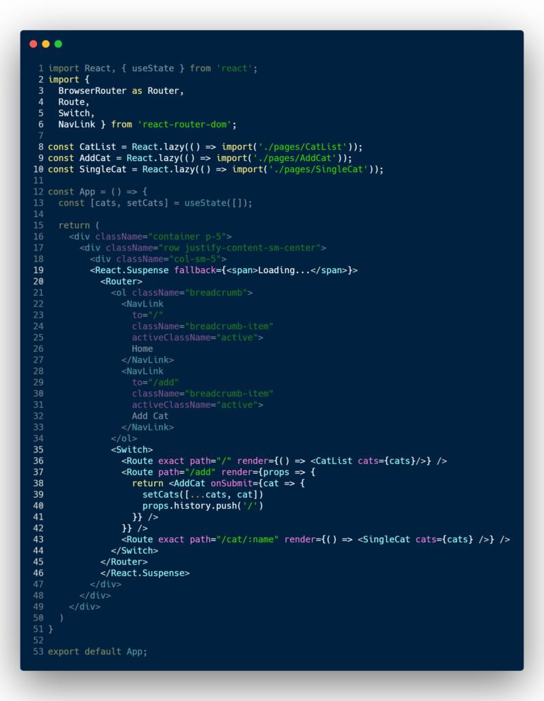React router with lazy loading code