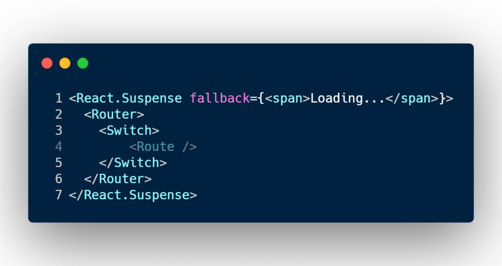 Using React Suspense and React Router Switch component to add a fallback option and reduce amount of code and markup on render method.