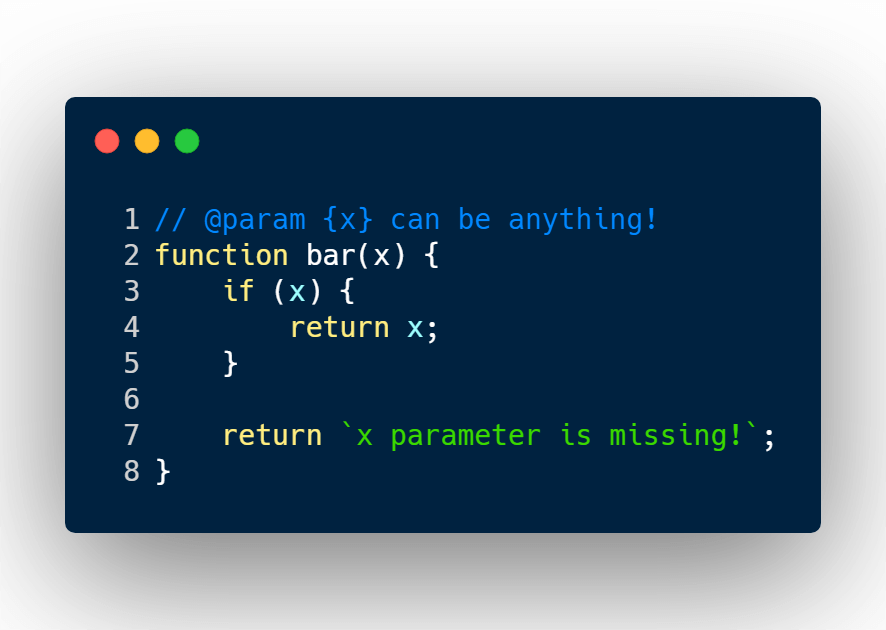 A dynamically type function in JavaScript.