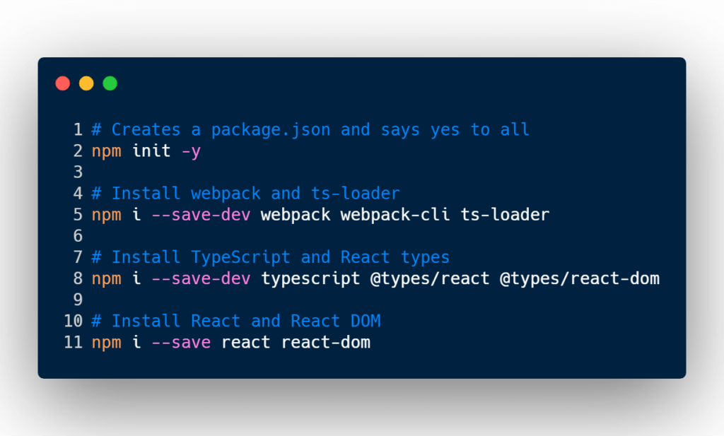 NPM installing Webpack, React, and TypeScript dependencies.