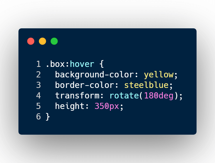 Add box CSS hover selector and change background color, border color, and height