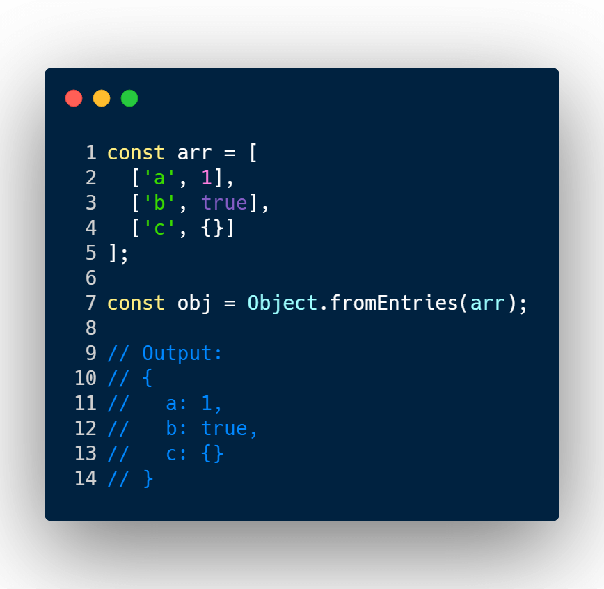Convert Array key value to an object with fromEntries()