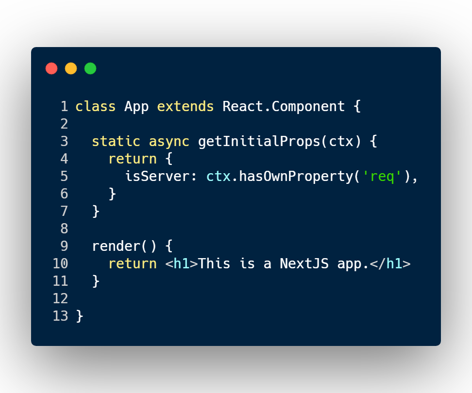 access getInitialProps() in NextJS with a React class component style