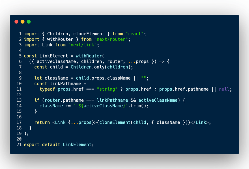 HOC that adds active classname to Next JS link component