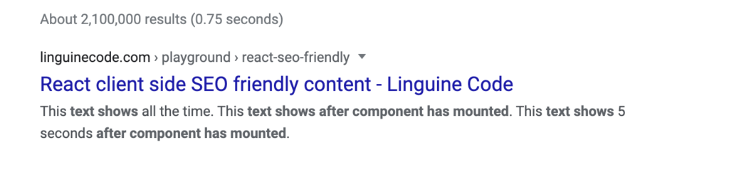 React client side SEO friendly page index result
